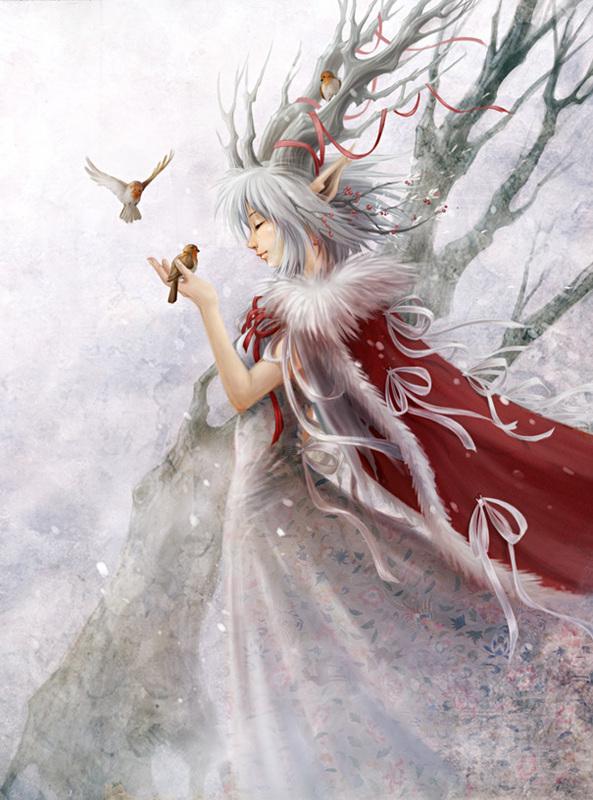 sublime elfe aux oiseaux